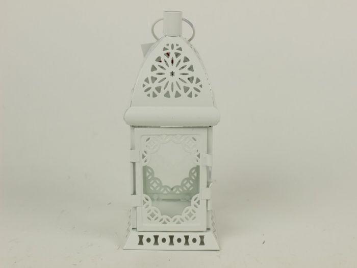 Kovová lucerna - hranatá bílá CL-1426